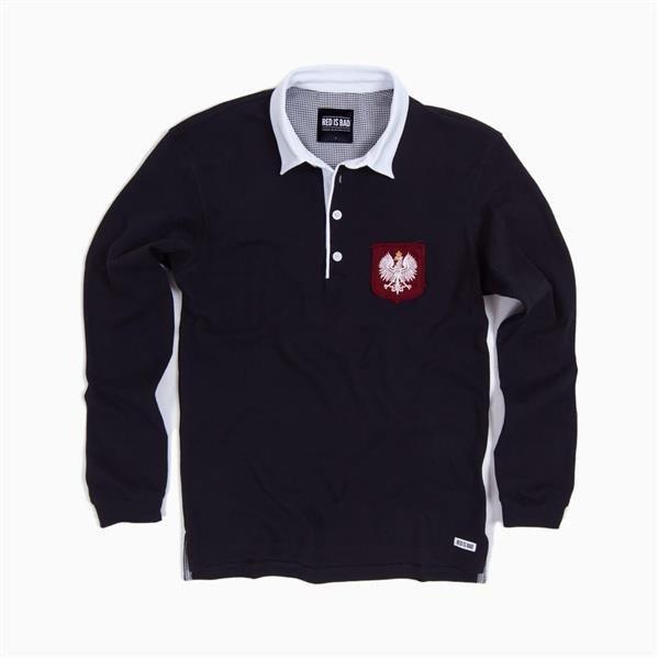 5102b747aa9 ... Rugby polo with hand-treated shield with Polish Eagle - black ...